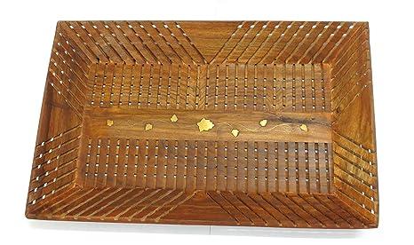 Bandeja de madera hecha a mano decoración de casa, cocina 14 x 9 pulgadas Bandeja
