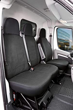 Walser Autoschonbezüge Transporter Passform Sitzbezug Lissabon Einzel Doppelbank Kompatibel Mit Citroen Jumper Farbe Anthrazit 10498 Polyester Auto