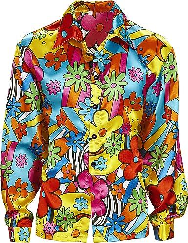 WIDMANN Desconocido Disfraz de Camisa con Flores Hippie ...