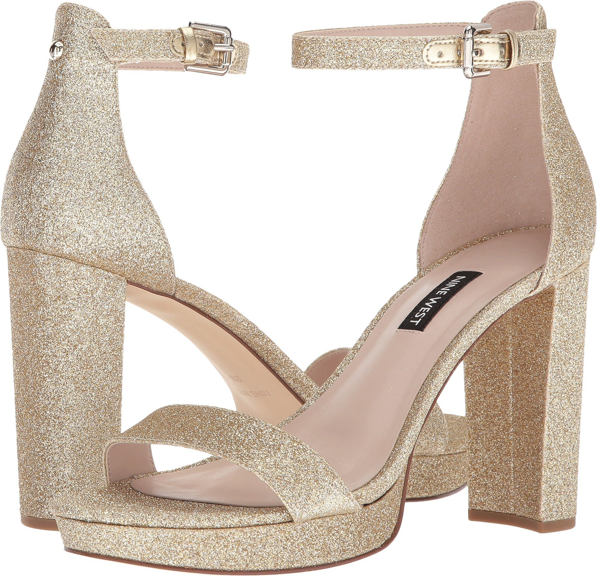 world-wide renown lowest price purchase cheap Nine West Women's Dempsey Platform Heel Sandal Light Gold Synthetic 9.5 M  US M