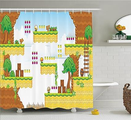Amazon Com Ambesonne Video Games Shower Curtain Set Cartoon Retro