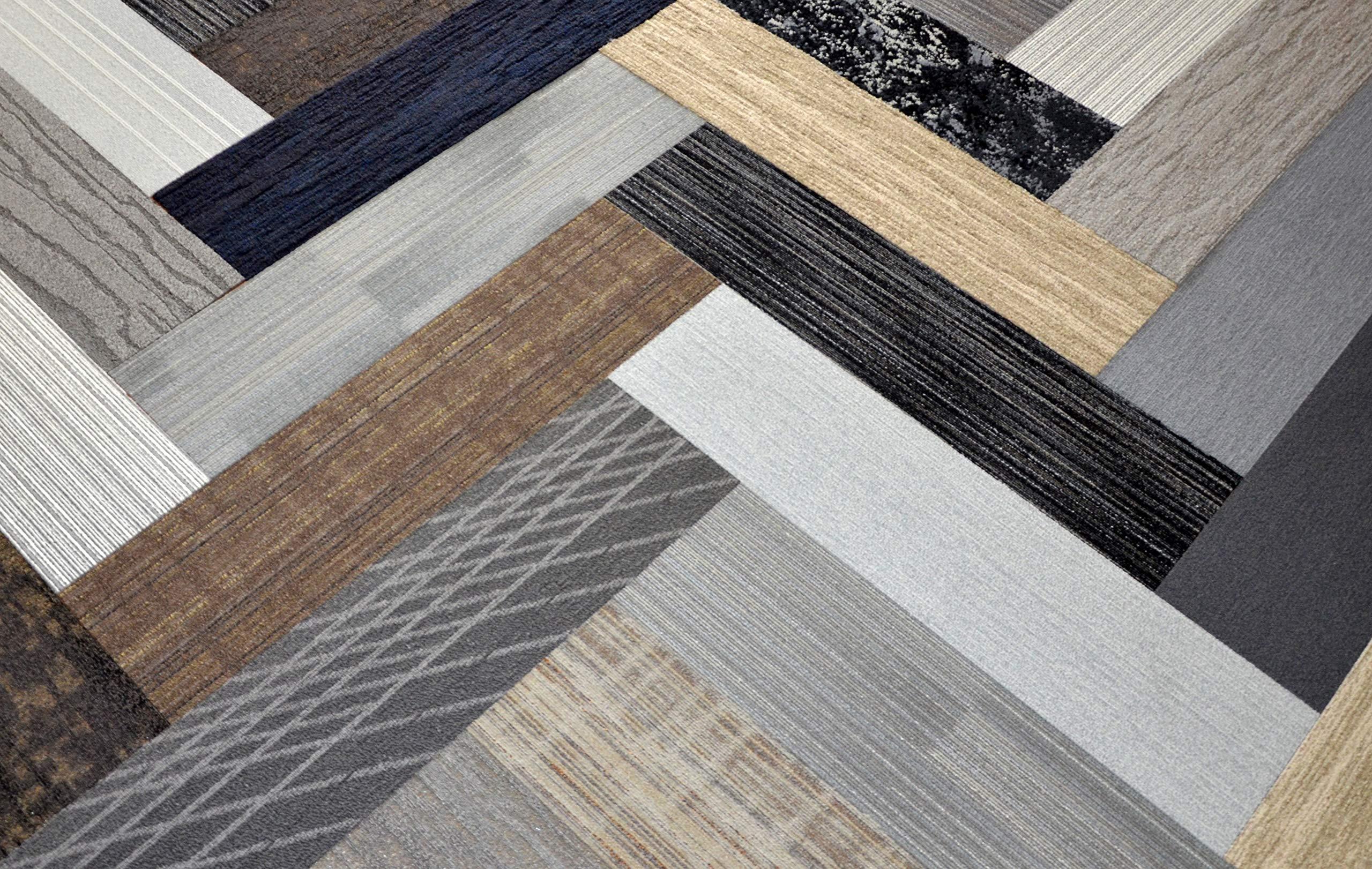 Dean Affordable 48'' x 12'' Plank Commercial Carpet Tile - Random Assorted Colors - 48 Square Feet (12 Pieces)