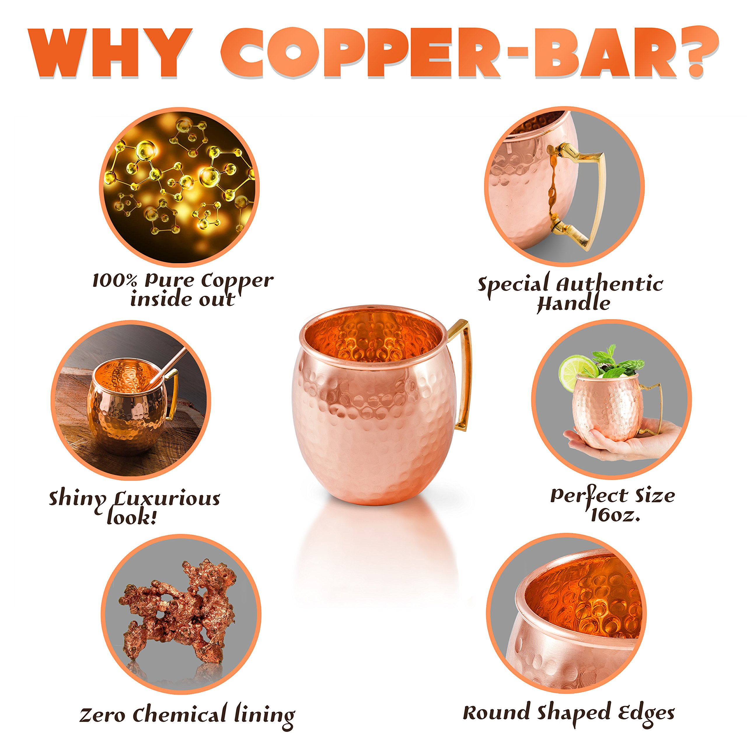 Moscow Mule Mugs 100% Solid Copper, Hammered, Gift Set of 4, No Nickel - Food Safe, 16oz, BONUS: 4 Straws + 1 Shot Glass & 2 E-Books by Copper-Bar by Copper-Bar (Image #4)