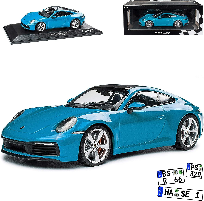 Porsche 911 992 Coupe 4S Miami Blau Neue Generation Ab 2019 limitiert 1 von 333 St/ück 1//18 Minichamps Modell Auto mit individiuellem Wunschkennzeichen