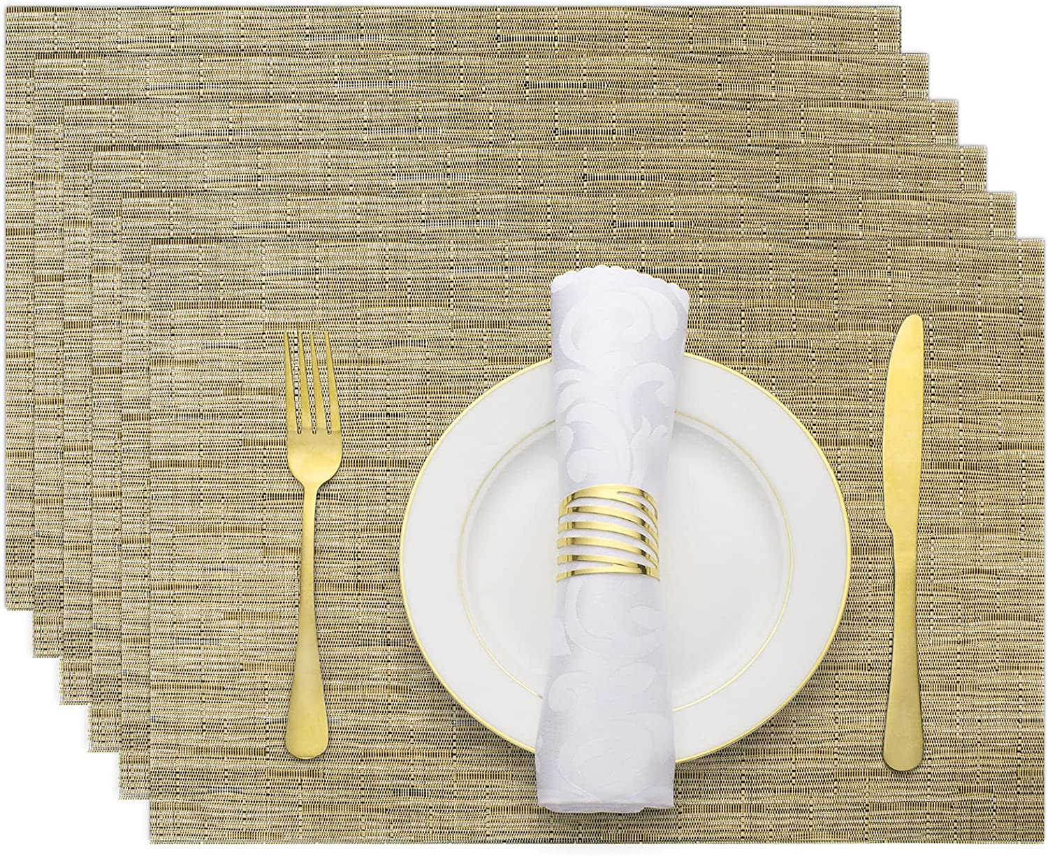 Evevda Placemats for Dining Table Set of 6 Rectangle Vinyl Woven Table Mats Wipeable Place Mats for Home Kitchen Table Decor 18 x 12 Inch(Bamboo Pattern, Brown)