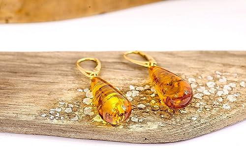 boucles d'oreilles or ambre