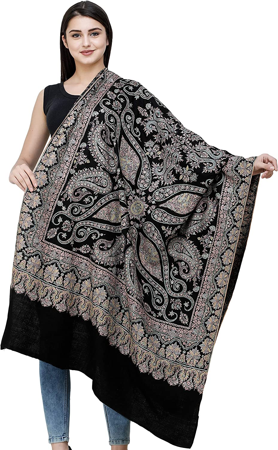 Exotic India Pirate Black Pure Pashmina Shawl From Kashmir With Sozni Hand Embroidered Flowers And Paisleys Amazon Co Uk Clothing