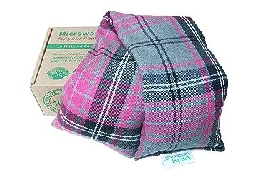 Amazing Health - Bolsa de trigo para microondas (sin perfumar, funda de algodón), diseño a cuadros color rosa