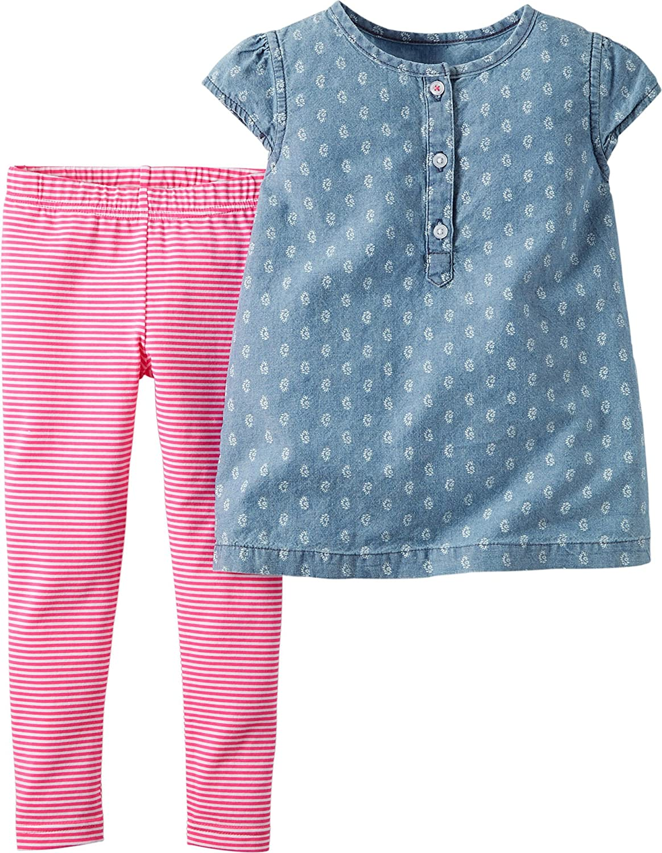 e5c446f581 Amazon.com: Carter's Baby Girls' 2 Piece Print Chambray Top Legging ...