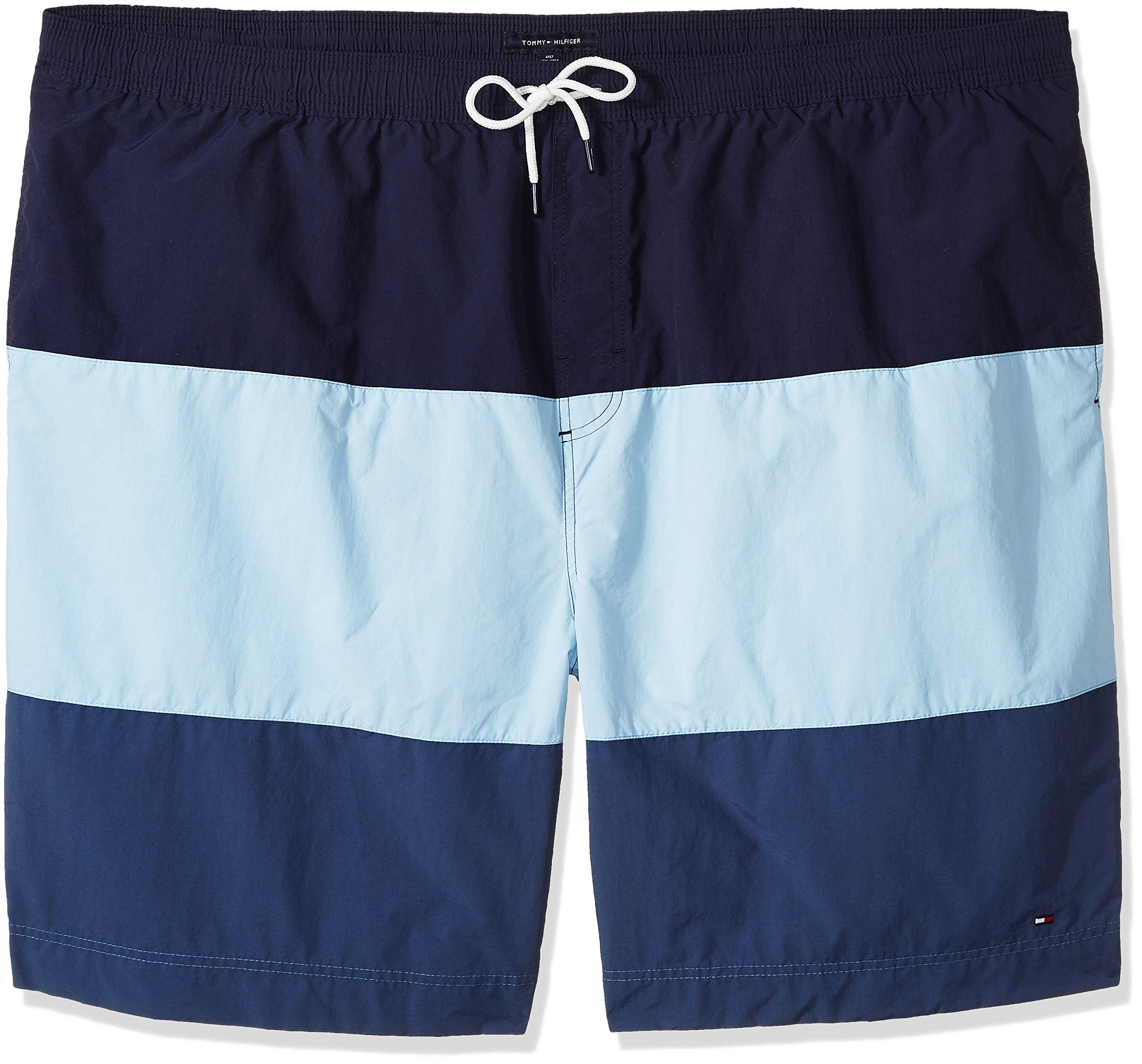 Tommy Hilfiger Men's Big and Tall Swim Trunks Cannon Stripe, Peacoat, TL-L
