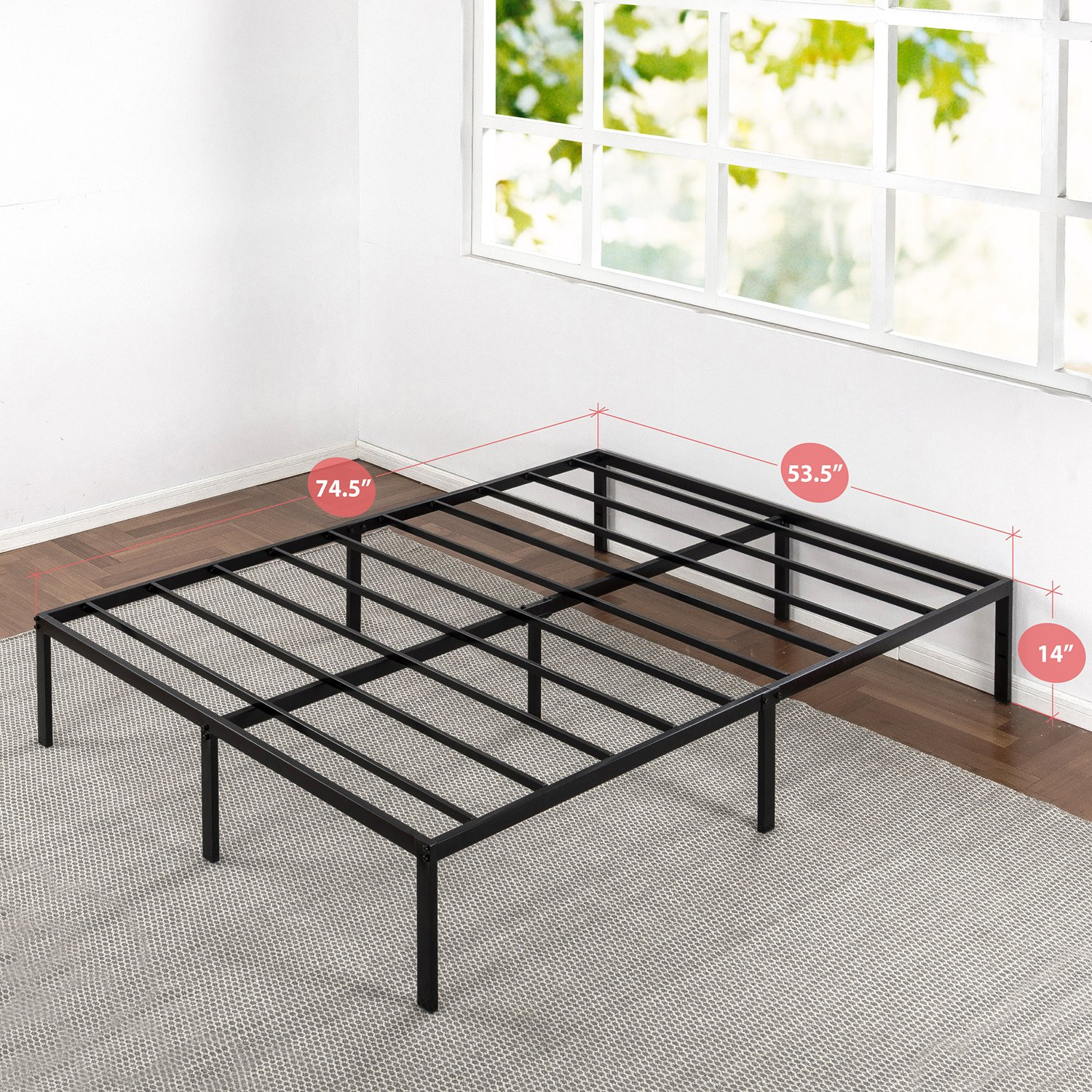 Full Size Bed Frame Sturdy Metal Mattress Base Replaces ...