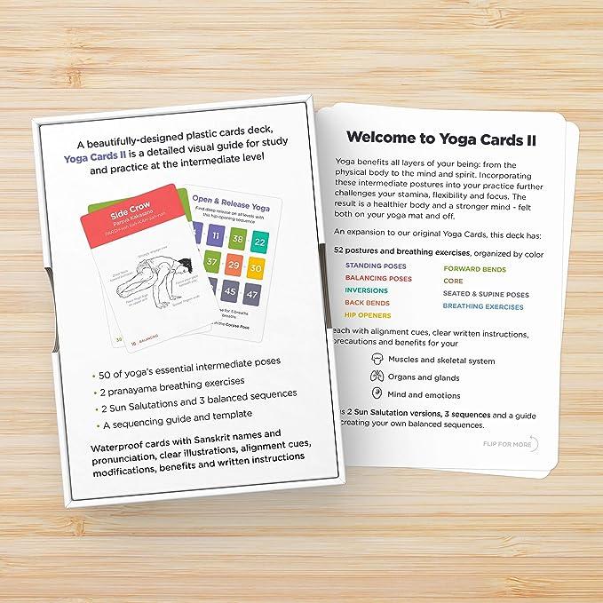 WorkoutLabs Tarjetas plásticas de Yoga con Lengua sánscrito para intermedio Estudio Visual, secuenciación de Clases, práctica con posturas, Ejercicios ...