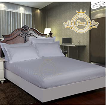 Crown Royal Hotel Collection Beddings 750 Thread Count Egyptian Cotton Fitted Sheet Expanded Olympic Queen