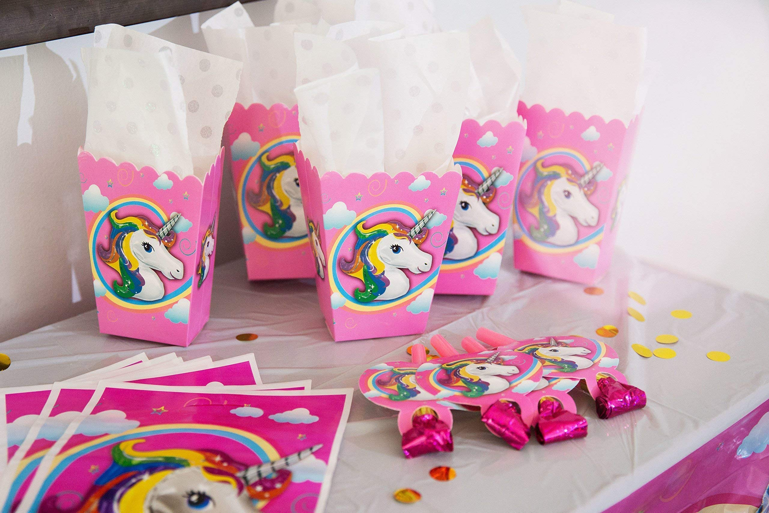 Unicorn Party Supplies- Cake Topper + Cupcake Wrappers | Headband | Party Plates Set for Kids | 32 Balloons | Tattoos… 11
