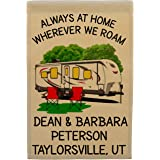 Always at Home Wherever We Roam Personalized Big Travel Trailer Campsite Flag, Customize Your Way, Flag Only