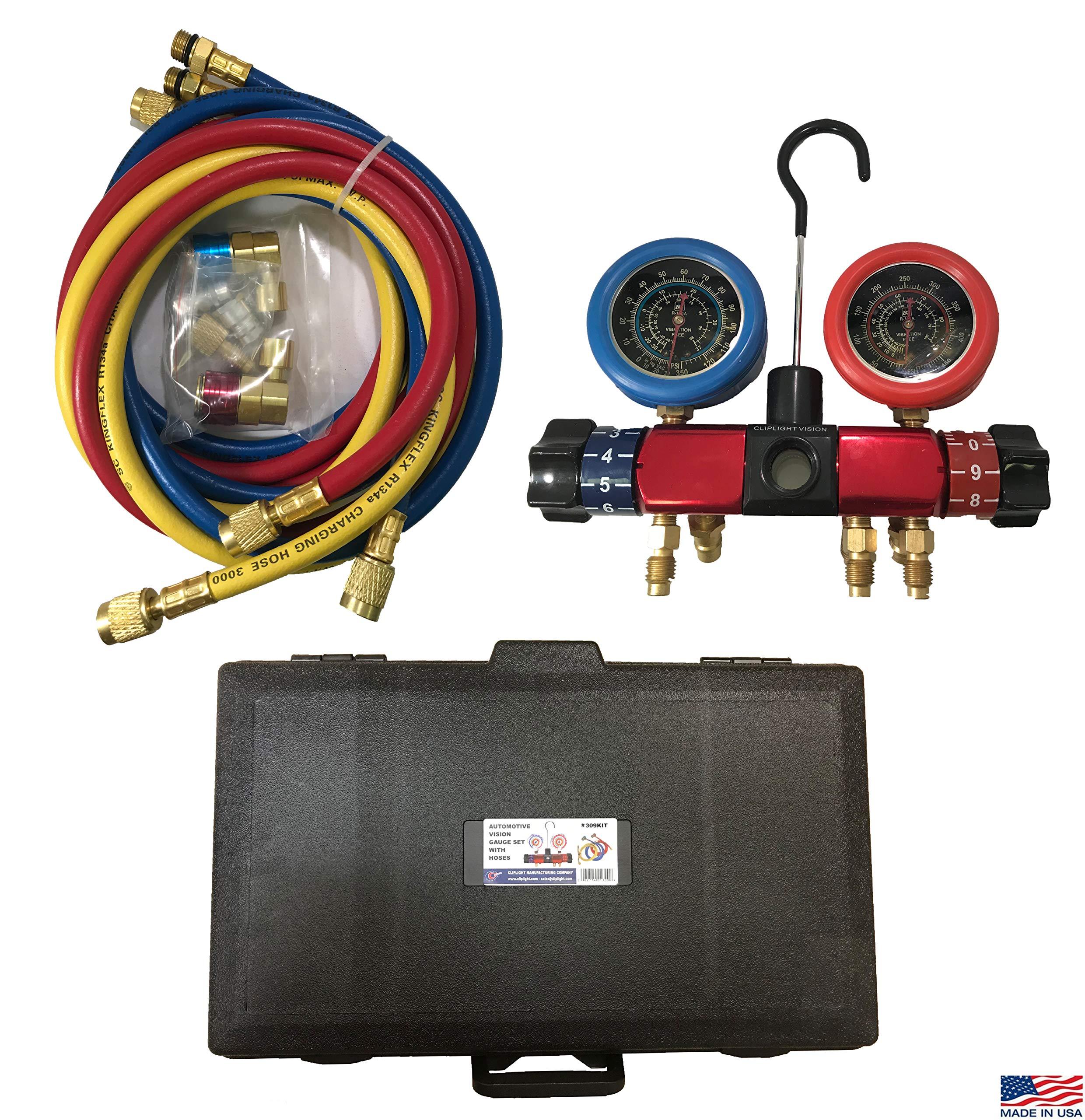 Sherco-Auto Cliplight 309KIT Vision Manifold Gauge Kit & Hose Set - R134a