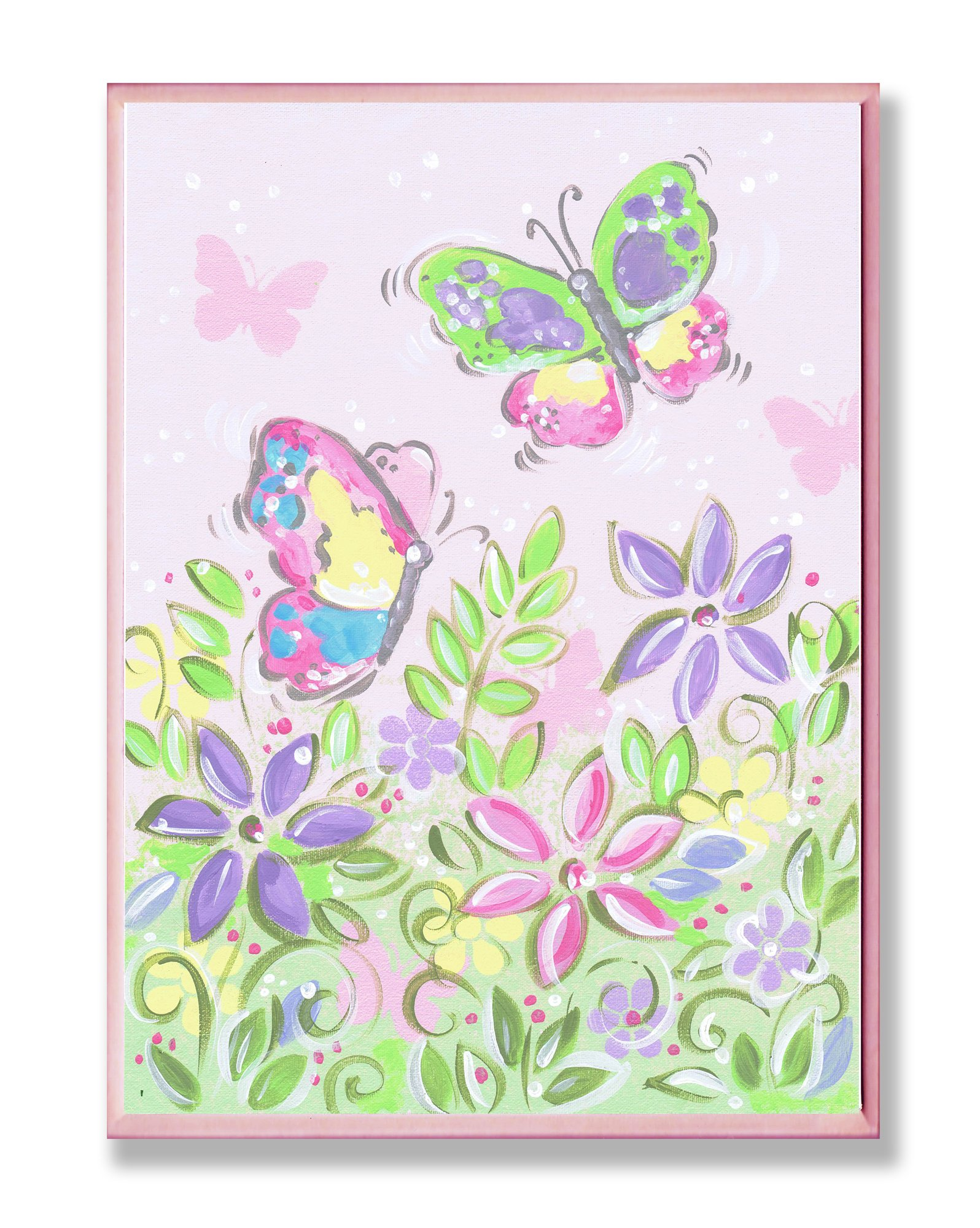 The Kids Room by Stupell Pastel Butterflies and Flowers Rectangle Wall Plaque by The Kids Room by Stupell