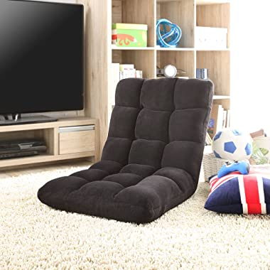 Loungie Super-Soft Folding Adjustable Floor Relaxing/Gaming Recliner Chair, Black