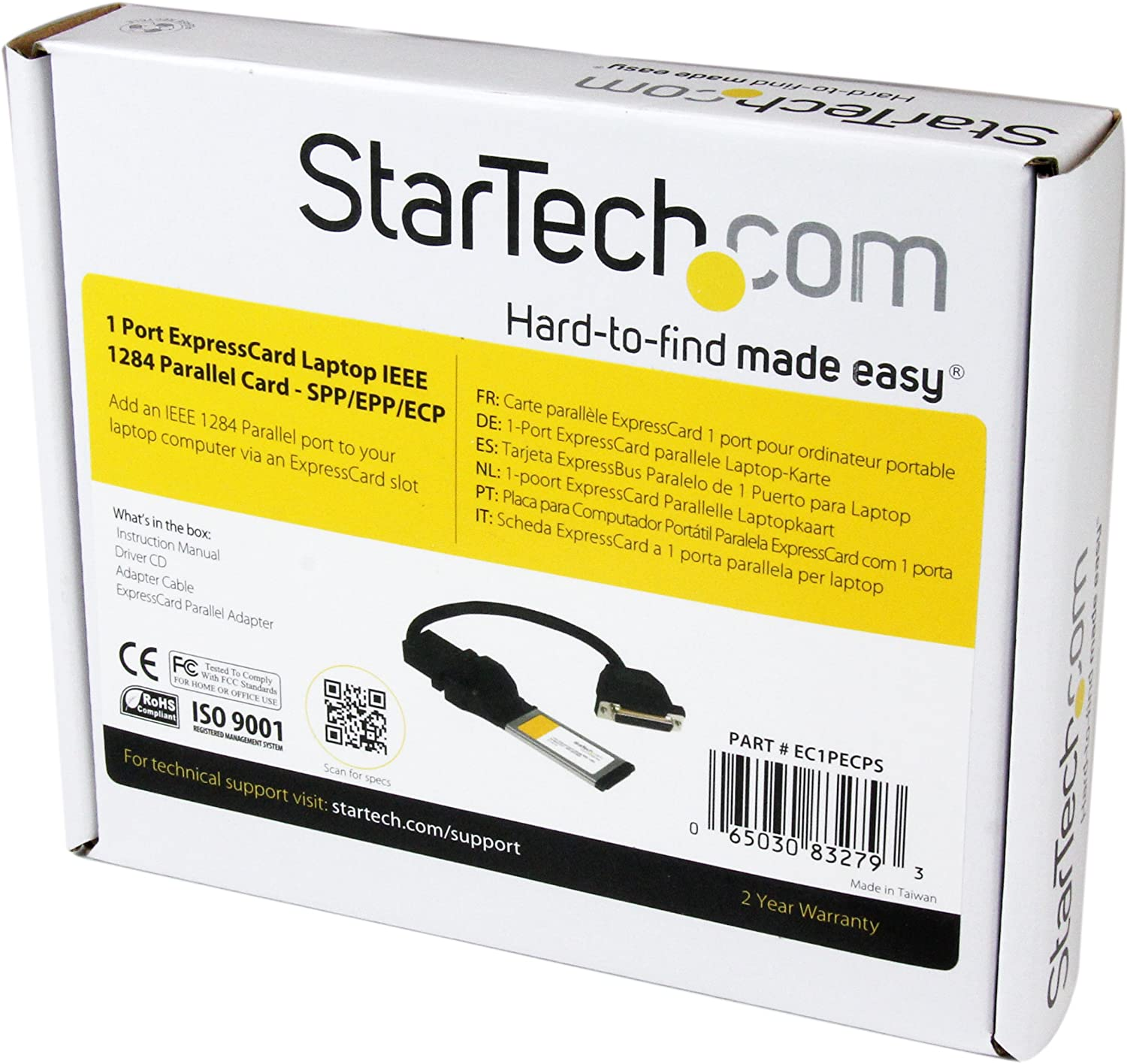 StarTech.com 1 Port ExpressCard Laptop Parallel Adapter Card - SPP/EPP/ECP - ExpressCard 54 Serial Card - Parallel ExpressCard (EC1PECPS)