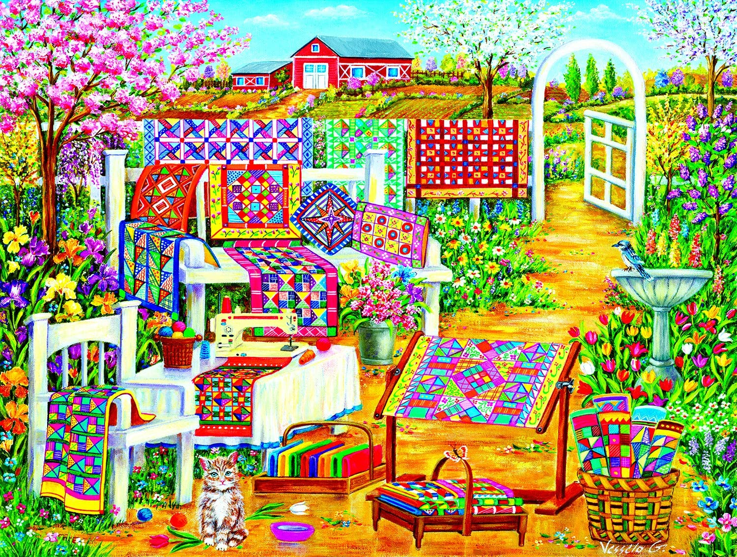 Garden Quilting 500 pc Jigsaw Puzzle by SunsOut