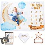 Sandan Baby Monthly Milestone Blanket for Baby Boy and Baby Girl | Gender Neutral Love You to The Moon and Back | Watch Me Grow | Theme-Matching Bib, Frames and Photo Album