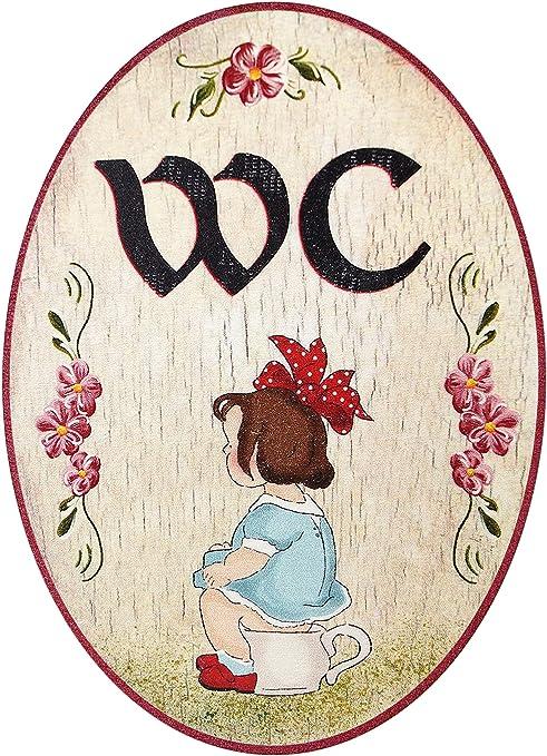 Kaltner Präsente – Regalo Idea – Placa para Puerta (Madera), diseño Envejecido Diseño Inodoro Mujer Chica (18 cm de diámetro)