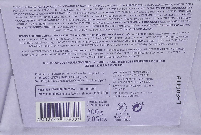 Simón Coll - Tableta de chocolate a la piedra(Vainilla, 60% cacao) - 10 tabletas de 200 gr. (Total 2000 gr.): Amazon.es: Alimentación y bebidas