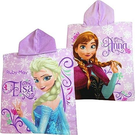 Personalizado de la niña Disney Frozen Elsa & Anna lavanda toalla Poncho con capucha
