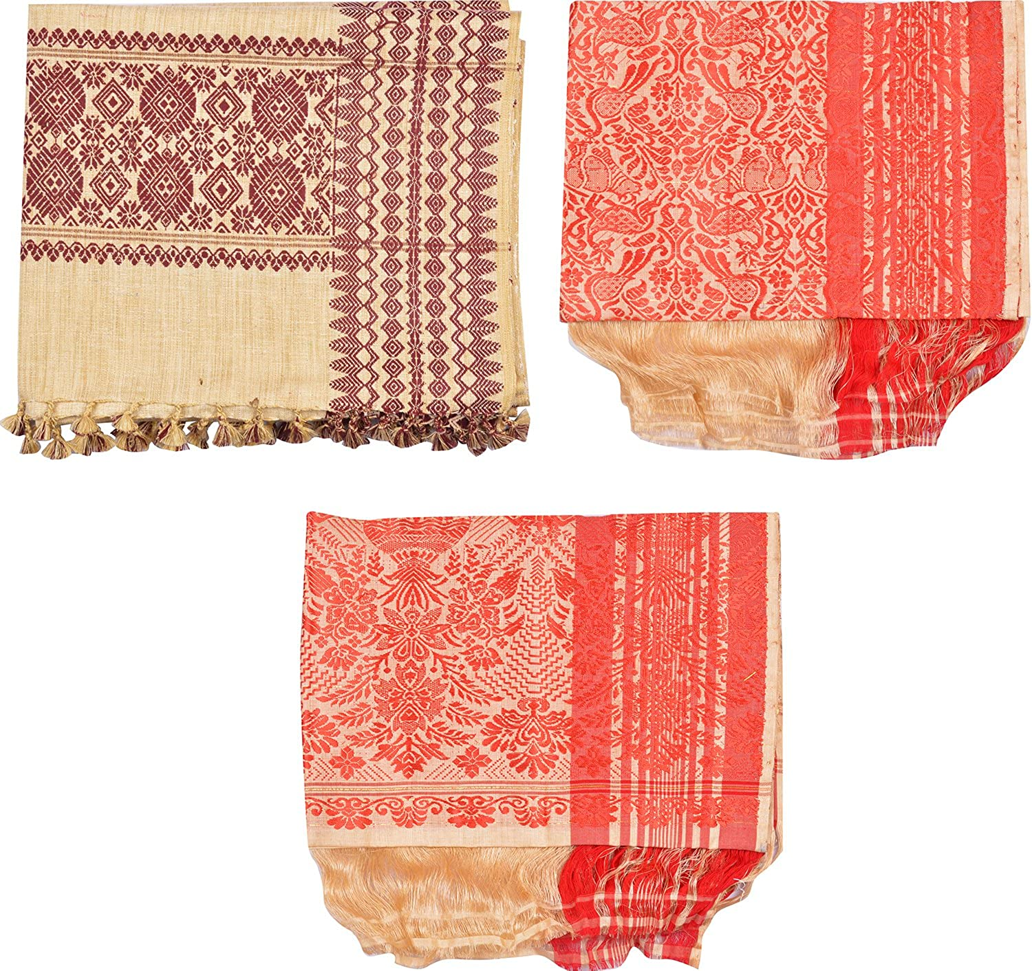 Uparam Muga Gamusa, Adult Scarf Combo of 3 (Multi-Coloured)