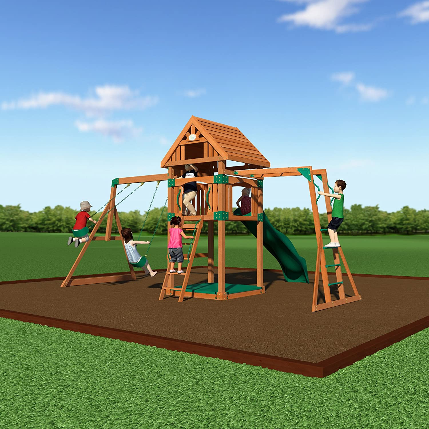 Amazon.com: Backyard Discovery Capitol Peak All Cedar Wood Playset Swing Set:  Toys U0026 Games
