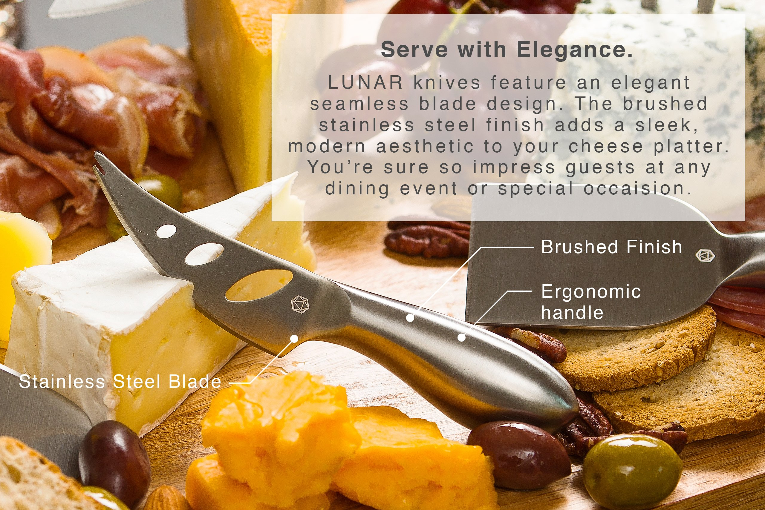 LUNAR Premium 6-Piece Cheese Knife Set - Complete Stainless Steel Cheese Knives Collection by ICOSA Living (Image #3)