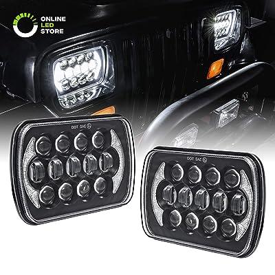 7x6 5x7 LED Headlights H6054 H5054 [CREE LED] [Black Finish] [DRL Built-in] [H4 Plug & Play] [Low/High Beam] - H6054LL 69822 6052 6053 Head Light for Jeep Wrangler YJ Cherokee XJ: Automotive [5Bkhe0105245]