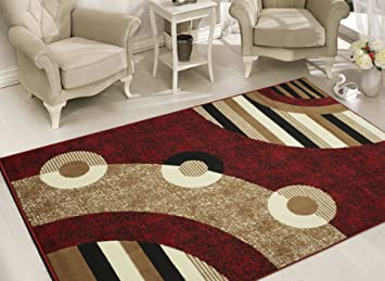 Amazon.com: Sweet Home Stores Modern Circles Design Area Rug, 8u00272 X 9u002710,  Red: Kitchen U0026 Dining