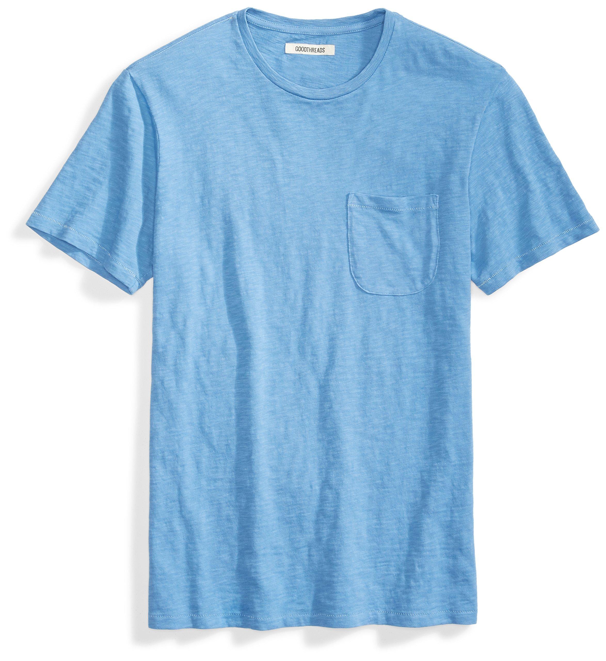 Goodthreads Men's Short-Sleeve Crewneck Slub Pocket T-Shirt, Moonlight Blue/Blue, Medium