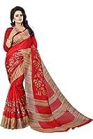 KBFWomen's Bhagalpuri Silk Saree With Blouse Piece (Ipl-Arpita Red_Red)