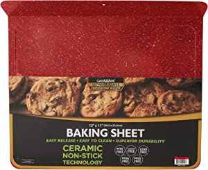 casaWare Toaster Oven 12 x 11-Inch Baking Sheet with a 1.5-Inch Handle (Red Granite)