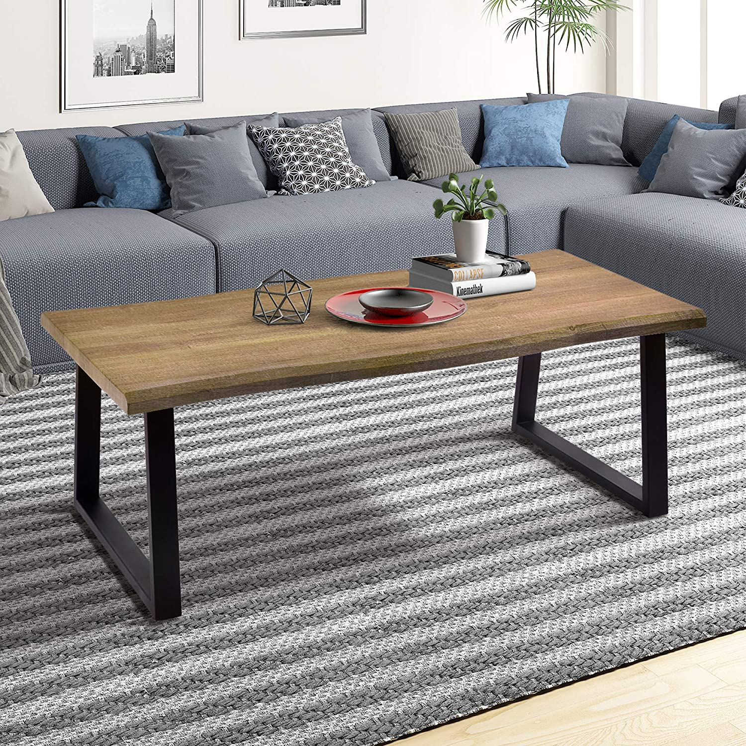 Amazon com wood coffee table cocktail table with metal frame industrial style living room furniture kitchen dining