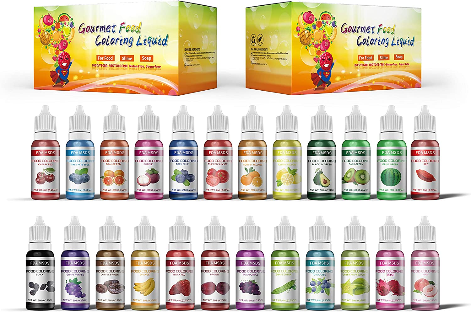 Food Coloring Set - 24 Color Liquid Dye for Baking Decorating, Fondant, Cooking, Icing or Making DIY Crafts