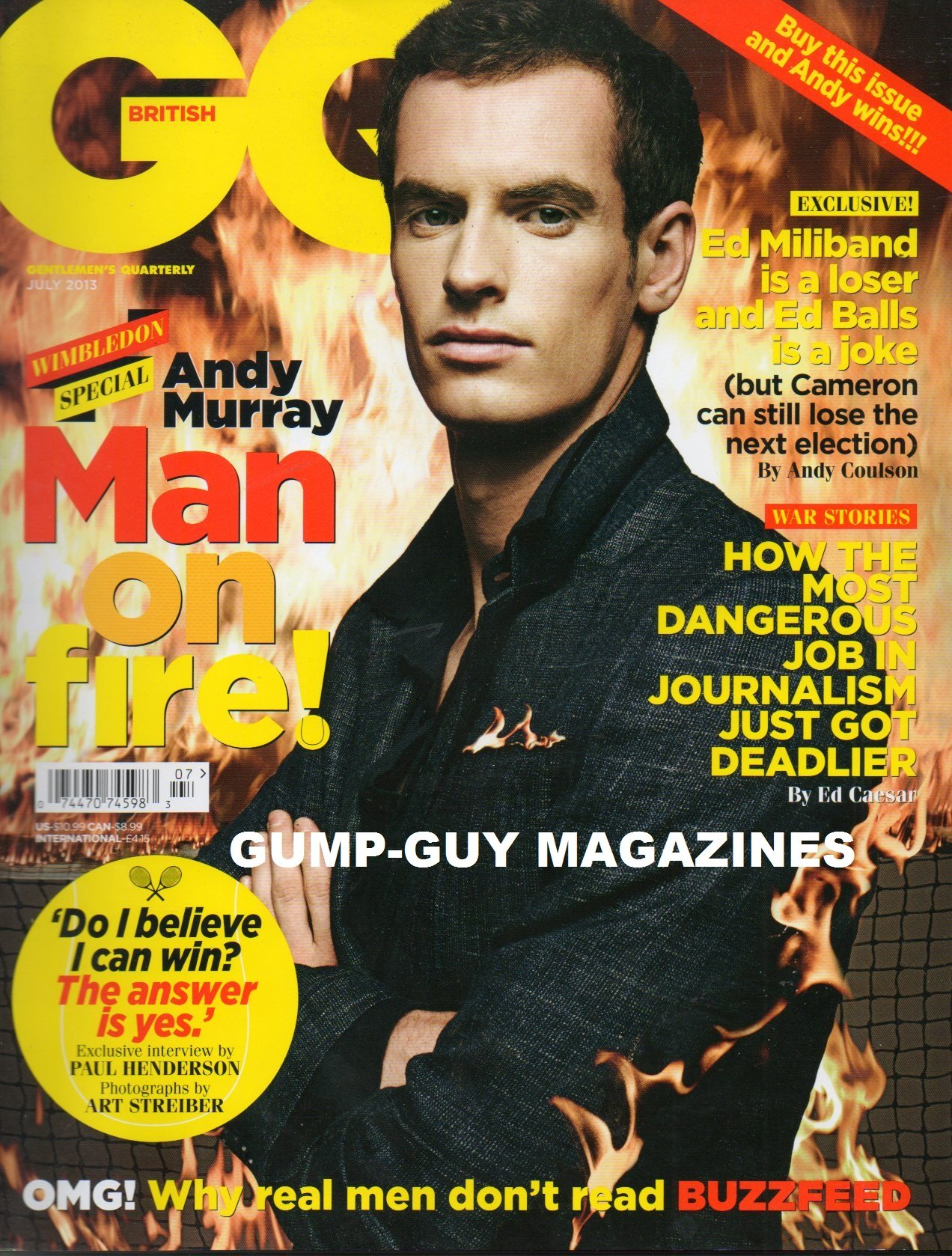 Download GQ BRITISH July 2013 Magazine MAN ON FIRE! WIMBLEDON SPECIAL ANDY MURRAY Ed Miliband Is A Loser & Ed Balls Is A Joke pdf