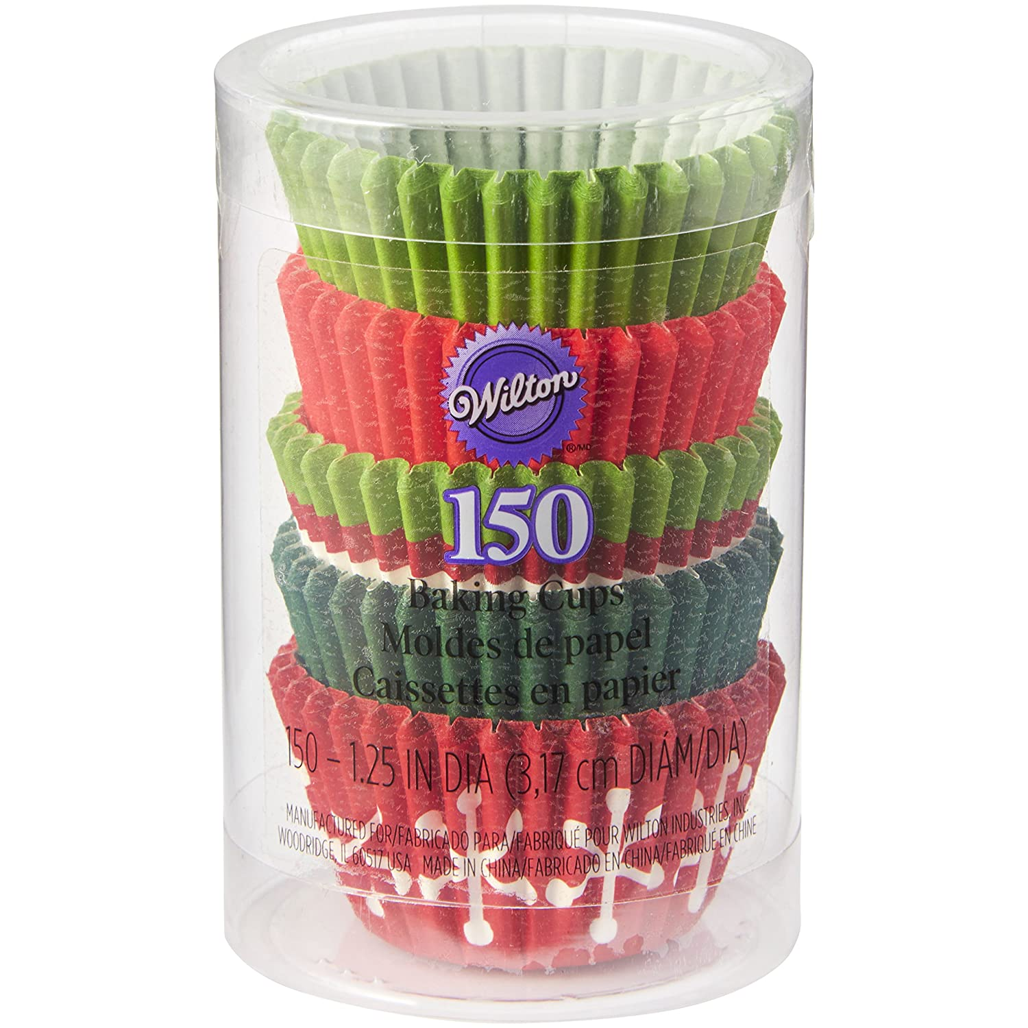 Wilton Christmas Red and Green Mini Cupcake Cases, Paper, Multicoloured, 4.85 x 4.85 x 2.18 cm 415-2086