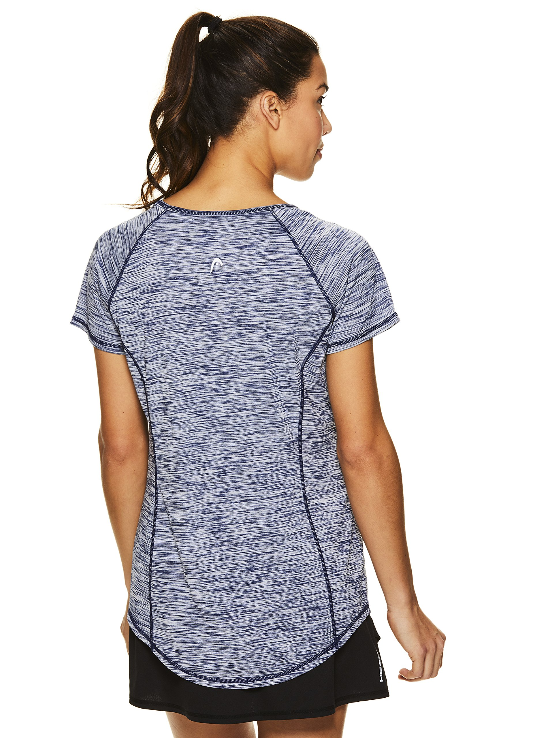 HEAD Women's Serena Short Sleeve Workout T-Shirt - Performance Crew Neck Activewear Top - Medieval Blue Heather, X-Small by HEAD (Image #3)