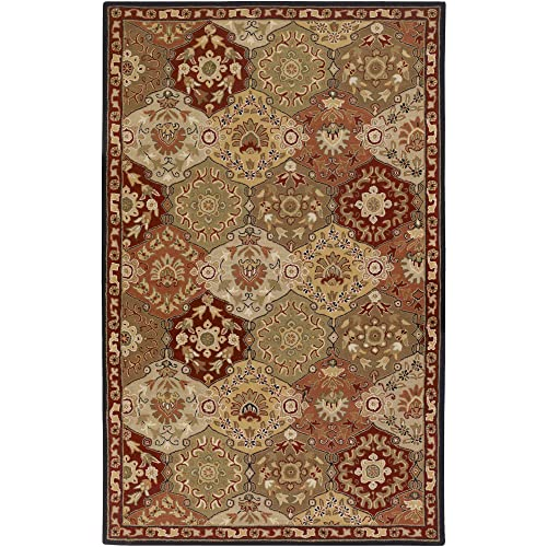 Surya CAE-1034 Caesar Red 4-Feet by 6-Feet Area Rug