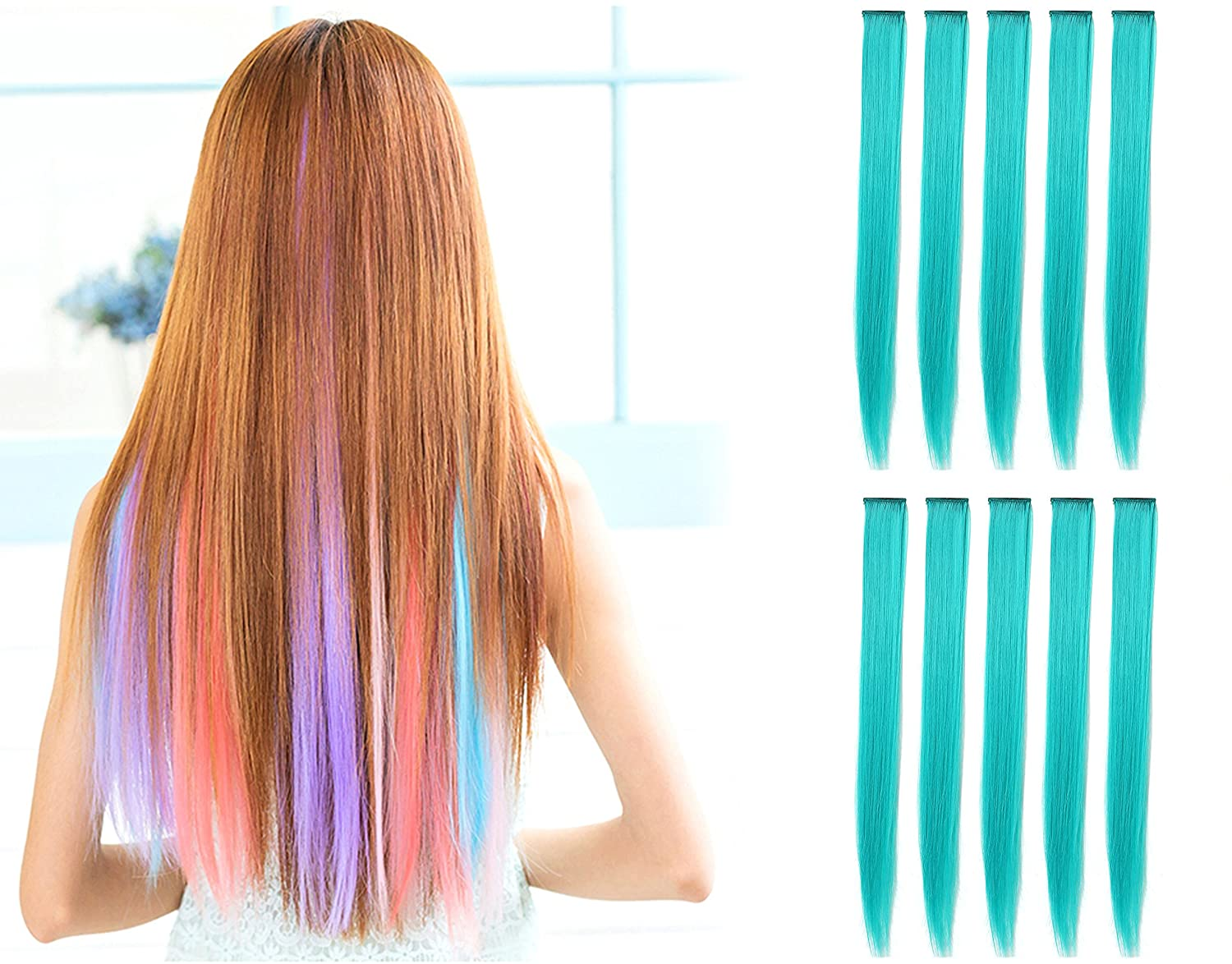 OneDor 23 Inch Colored Party Highlights Straight Hair Clip Extensions. Heat-Resistant Synthetic Hair Extensions in Multiple Colors (10 Pcs Teal Blue)