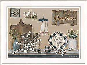 Trendy Decor4U Farmhouse Kitchen by Pam Britton Printed Wall Art, 19 inch x 15 inch, Brown