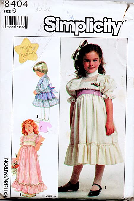Amazon Simplicity 8404 Girls Sewing Pattern For Raised Waist