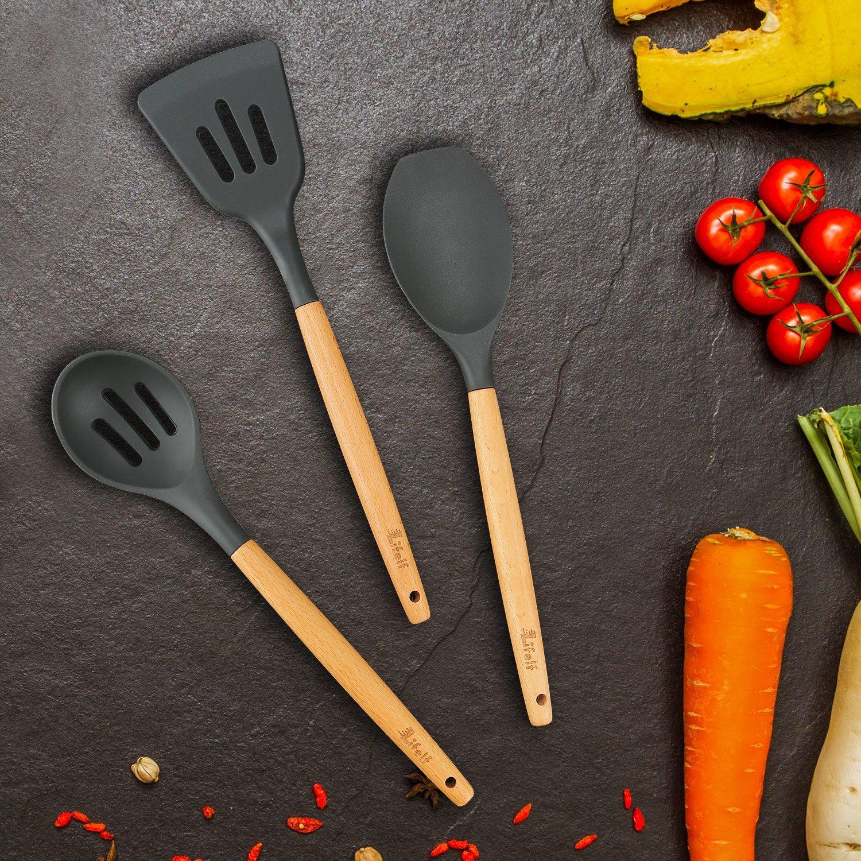 9-Piece Silicone Cooking Utensils Set, Lifelf Premium Non-Stick Heat Resistant Kitchen Utensils Set with Wooden Handles for Cooking Baking BBQ,BPA Free (Dark Gray) by Lifelf (Image #5)