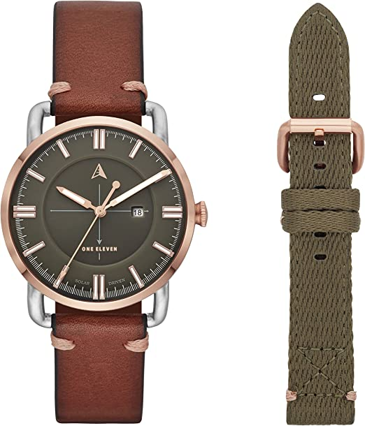 Amazon Com One Eleven Women S Sw1 Solar Quartz Two Tone Stainless Steel And Leather Casual Watch Color Silver Rose Gold Brown Model Cboe5001 Watches