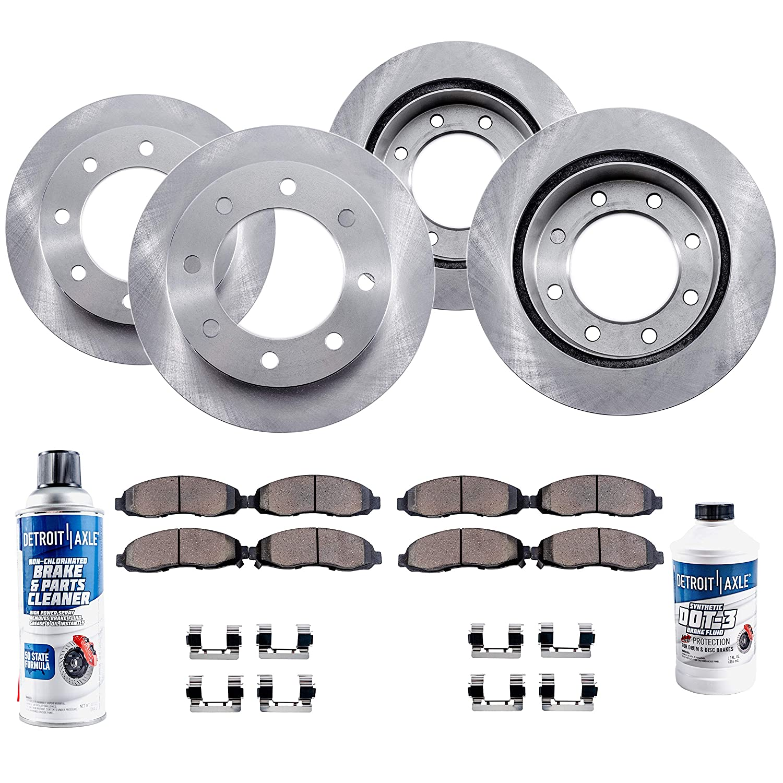 Detroit Axle - Complete FRONT & REAR Brake Rotors & Ceramic Brake Pads w/Hardware, Brake Fluid & Cleaner for 8-Lug w/4.63' Wheel Hub Hole - Silerado/Sierra 1500HD 2500 Suburban Yukon XL 2500