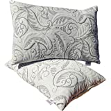 Healing Crystals India Pillow Micro Fiber Fluffy and Soft Luxury Plush Bed Pillow for Home and Hotel Collection, Cotton Cover Dust Mite Resistant & Hypoallergenic (Black Strip, 2)
