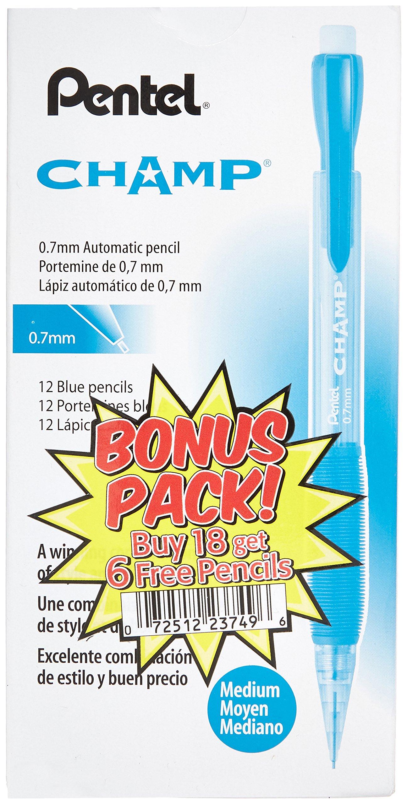 24 x PENAL17CSWUS - Portaminas Pentel Champ, barril azul